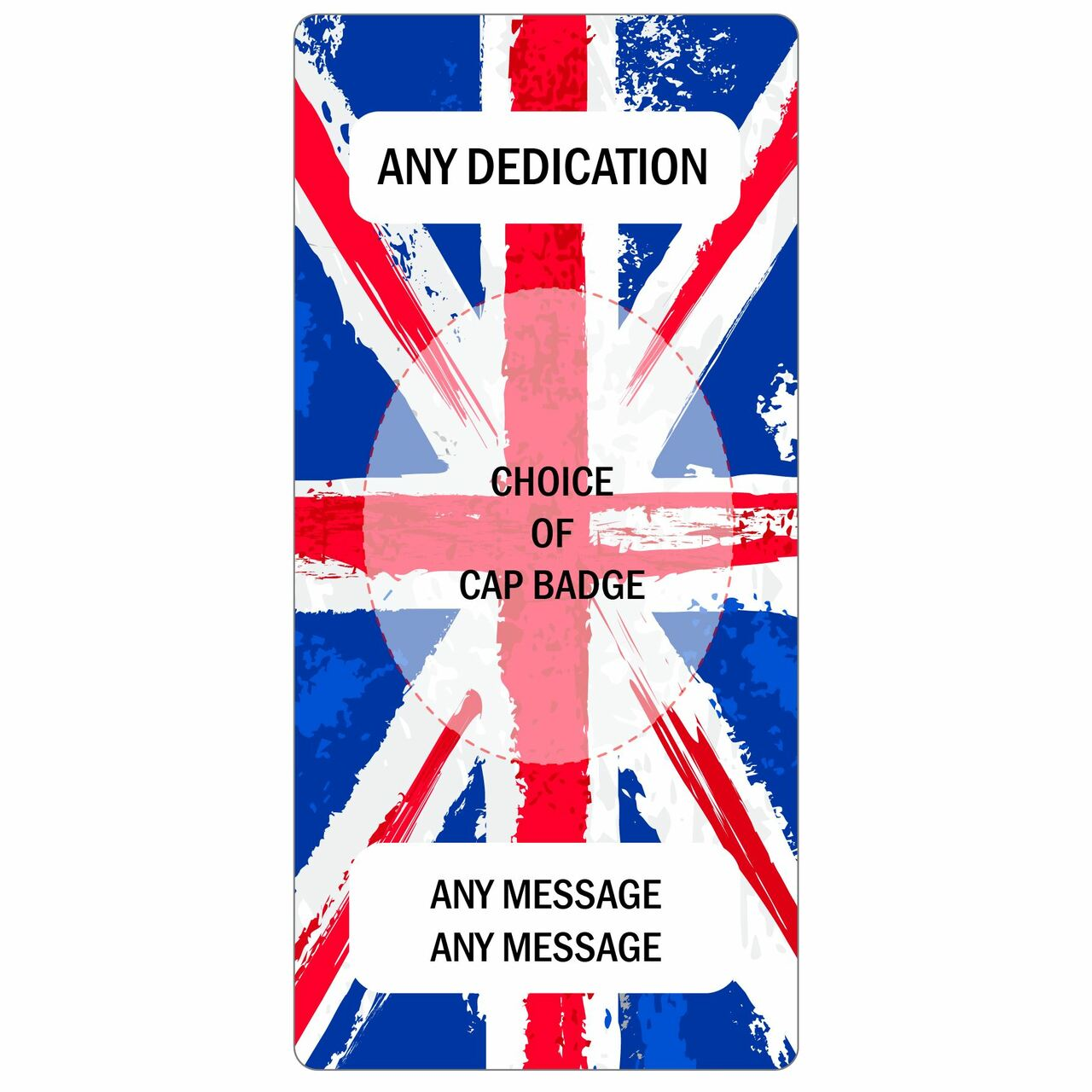 Personalised Bumper sticker Union Jack and Badge