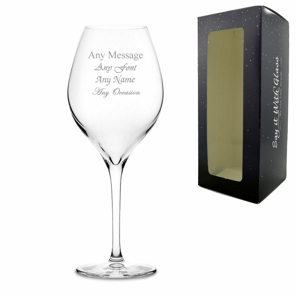 Engraved 12.75oz Vinifera Wine Glass with Gift Box