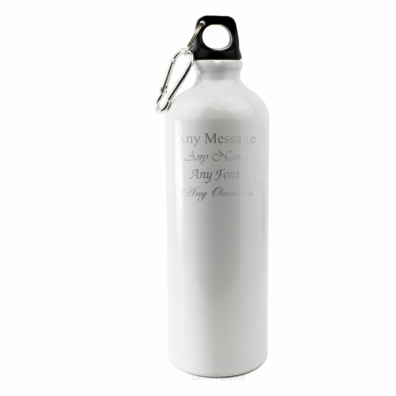 Engraved White Sports Bottle with any message