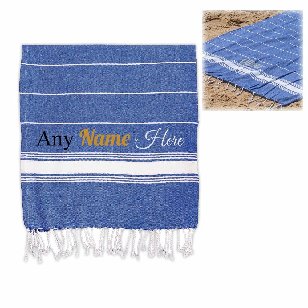 Personalised Turkish Style Cotton Navy Towel