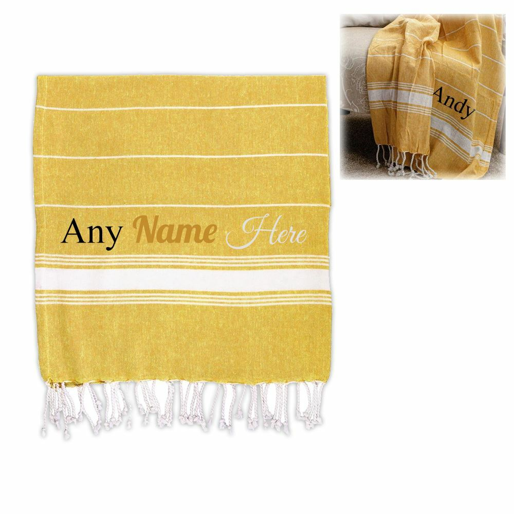 Personalised Turkish Style Cotton Yellow Towel