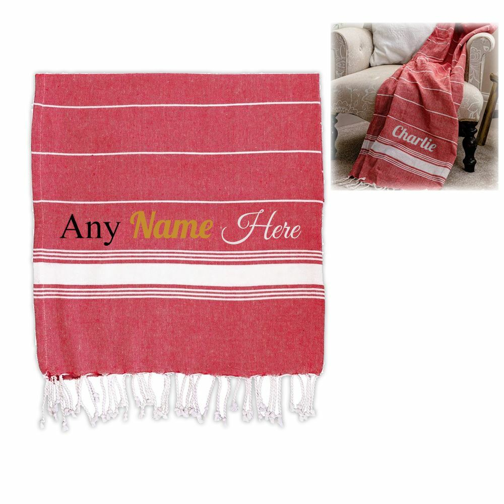 Personalised Turkish Style Cotton Red Towel