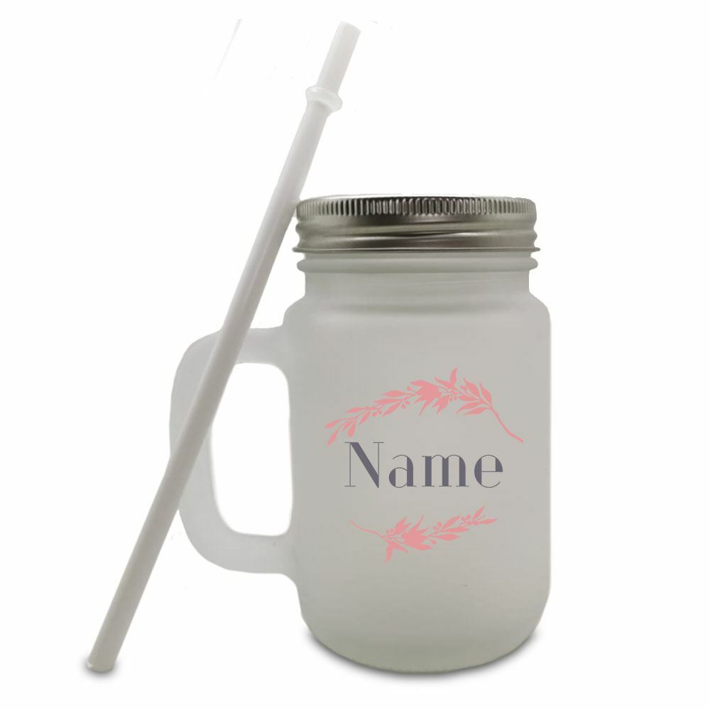 Colour Printed Frosted Mason Jar with Name and Wreath Design